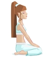 Girl sitting in yoga pose Virasana - Hero pose vector image