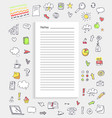 notes and collection of icons vector image