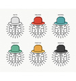 Six thinking hats concept design with human brains vector image