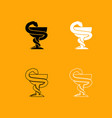 snake and cup black and white set icon vector image