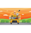 animals and zoo bus vector image vector image