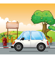A white car in the street with an empty board vector image vector image