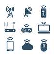 Wireless equipment icons collection vector image