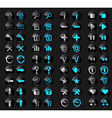 Black glossy buttons in active and inactive vector image vector image
