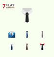 flat icon tie set of necktie tie textile and vector image