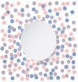 Confetti backdrop with white banner Rose quarts vector image