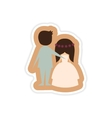paper sticker on white background bride and groom vector image