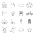 Netherlands icons set outline style vector image