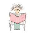 cartoon reading boy vector image
