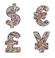 Currency signs dollar euro yen pound sterling vector image