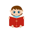 Cute baby sitting and reading book vector image
