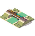 isometric train bridge vector image