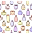 Seamless pattern with different bottles of woman vector image