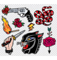 set of danger related classic flash style patches vector image
