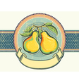 Pears vintage label on old paper background vector image vector image