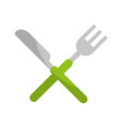 knife and fork cutlery isolated icon vector image vector image