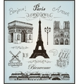 Paris collection elements hand drawn vector image vector image