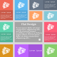 Us dollar icon sign Set of multicolored buttons vector image