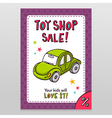 Toy shop sale flyer design with green toy car vector image
