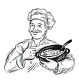 hand-drawn chef with a pot in his hand vector image