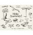 Hand Drawn Sketch Summer Set vector image