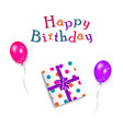 happy birthday text present box and balloons vector image