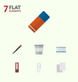 icon flat tool set of blank clip bin and other vector image