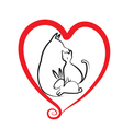 Pets and heart logo vector image