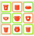 Set of 9 different icons with flower pots vector image