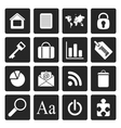 Black simple business and internet icons vector