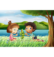 Kids near the river with a magnifying glass vector image