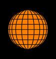 earth globe sign orange icon on black background vector image