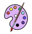palette with brush icon cartoon vector image