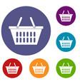 plastic shopping basket icons set vector image