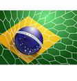 Soccer ball in net with brazil flag vector image