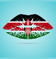 kenya flag lipstick on the lips isolated on a vector image
