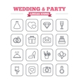 Wedding and party linear icons set Thin outline vector image