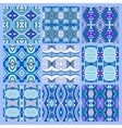 set of blue seamless colored vintage geometric vector image vector image