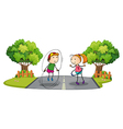 Children playing in the middle of the street vector image
