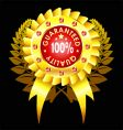 Golden quality badge with ribbon vector image