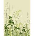 vector floral background with green grass vector image