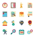 Tax icons in flat style set vector image