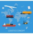 Concept of logistics transportation on world map vector image