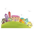 Bright cartoon houses on a hill vector image
