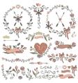 Colored Doodles bordersframeswreath floral vector image