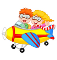Cute cartoon boy and girl on a plane vector image