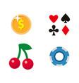 flat cartoon casino gambling symbols set vector image