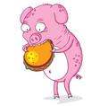 greedy pig vector image