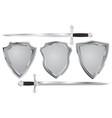 metal shield with swords vector image