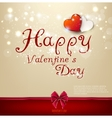 Valentines day background with bow and hearts vector image